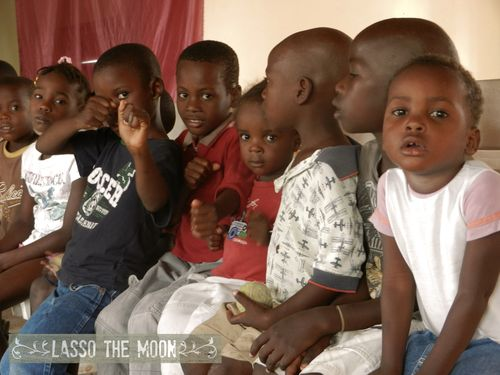 Row of adorable in haiti