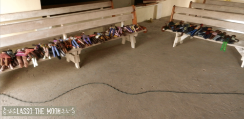 2 benches full of dolls in haiti