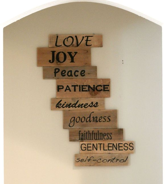 Gorgeous pallet wood art by Emily Reed, the fruit of the Spirit from Lassothemoon blog
